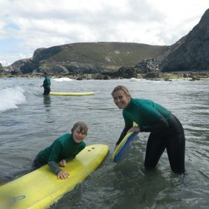 Family surf lesson in Cornwall