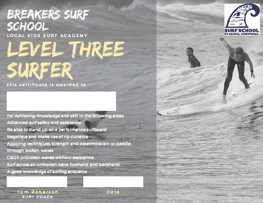 Junior Surfing Certificates